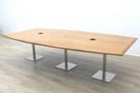 Solid Cherry Barrel Shape Office Meeting Table - Thumb 5