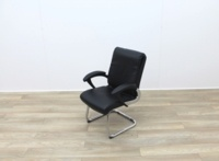 Black Faux Leather Meeting Chairs With Folding Back - Thumb 3