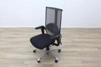 HAG H09 Inspiration Black Fabric Polished Aluminium Executive Office Task Chair - Thumb 3