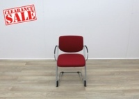 Red Fabric Meeting Chairs With Grey Frame - Thumb 2