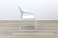 Brunner White Leather White Metal Frame Meeting Chair - Thumb 6