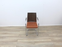 Walnut With Fabric Seat Meeting Chairs - Thumb 3