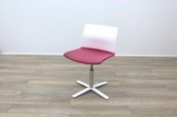 Dynamobel White Back Pink Fabric Seat Meeting Chair - Thumb 6