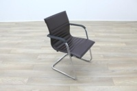 ICF Brown Ribbed Leather Cantilever Office Meeting Chair - Thumb 5