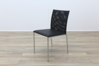 Brunner Black Mesh Back Black Leather Seat Meeting Chair - Thumb 3