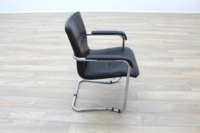 Black Leather Cantilever Office Meeting Chair - Thumb 6
