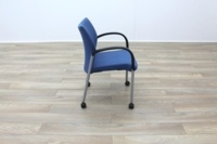 Senator Blue Fabric Stacking Office Meeting Chairs on Castors - Thumb 7