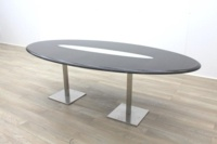 Wenge Oval Meeting Table Glass Inlay - Thumb 5