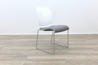 Brunner Blue and White Back with Grey Leather Seat Meeting Chair - Thumb 6