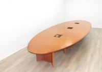 Cherry Veneer Oval Shape Meeting Table - Thumb 4