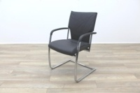 Brunner Grey Leather Cantilever Meeting Chair - Thumb 3
