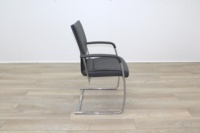 Brunner Grey Leather Cantilever Meeting Chair - Thumb 6