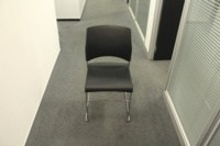 Black Sitag Plastic / Chrome Frame Stacking Office Meeting / Canteen Chairs - Thumb 2