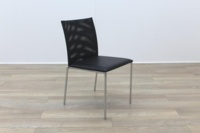Brunner Black Mesh Back Black Leather Seat Meeting Chair - Thumb 5
