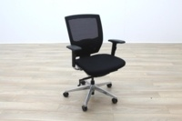 Black Fabric / Mesh & Polished Aluminium Office Task Chairs - Thumb 3