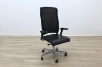 Interstuhl Black Leather Seat Operator Chair High Back - Thumb 5
