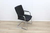 Black Meeting Chairs With Chrome Legs  - Thumb 3