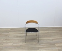 Black Fabric Meeting Chairs With Chrome Legs And Wood Back - Thumb 2