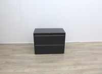 Two Drawer Black Metal Side-Filing Cabinet - Thumb 2