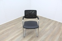 Brunner Black Mesh Back Grey Leather Seat Meeting Chair - Thumb 2
