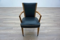 Bespoke Blue Leather / Maple Executive Office Meeting Chairs - Thumb 3