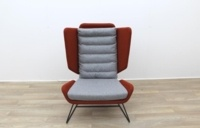 Big Red and Grey Reception Chairs With Metal Frame - Thumb 3
