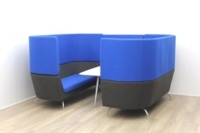 Dark Blue Orangebox meeting sofa with table and tv - Thumb 4