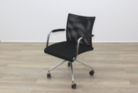 Zuco Visita Black Fabric Seat / Black Mesh Back Office Meeting Chair - Thumb 2