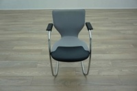 OrangeBox X10 Grey Fabric / Leather Cantilever Office Meeting Chairs - Thumb 4