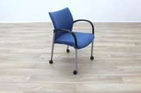 Senator Blue Fabric Stacking Office Meeting Chairs on Castors - Thumb 5