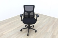 RS Pro Mesh Back Black Fabric Seat Operator Chair - Thumb 2