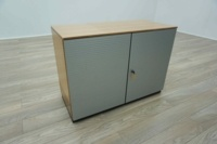 Bene AL Walnut / Silver Double Door Executive Office Storage Cupboards - Thumb 2