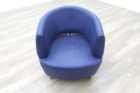 Blue Leather Office Reception Tub Chairs - Thumb 3
