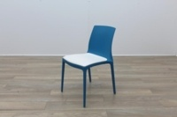 Brunner Blue with White Leather Seat Canteen Chair - Thumb 3
