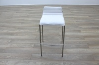 White Leather / Chrome Office Canteen / Cafe Bar Stools - Thumb 4