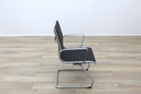 New Black Ribbed Leather Cantilever Office Meeting Chair - Thumb 6