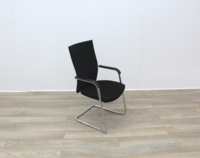 Black Stacking Meeting Chairs With Chrome Frame - Thumb 2