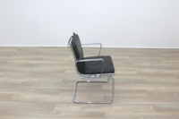 Charles Eames Soft Pad Style Black Leather Cantilever Office Meeting Chair - Thumb 6