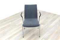 Brunner Light Grey Fabric Meeting Chair with Armrests - Thumb 2