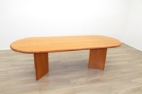 Cherry Veneer 2500mm Racetrack Executive Office Meeting Table - Thumb 4