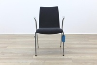Brunner Grey Velour Meeting Chair with Armrests - Thumb 4