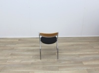 Black Fabric Meeting Chairs With Chrome Legs And Wood Back - Thumb 5