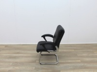 Black Faux Leather Meeting Chairs With Folding Back - Thumb 4
