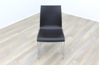 Brunner Mahogany Seat Chrome Legs Meeting Chair - Thumb 2