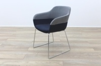 Brunner Grey and Blue Fabric Reception Tub Chair - Thumb 3