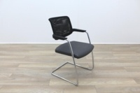 Brunner Black Mesh Back Grey Leather Seat Meeting Chair - Thumb 5