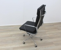 Charles Eames Soft Pad Style High Back Black Leather Faced Task Chair - Thumb 6
