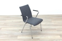 Brunner Light Grey Fabric Meeting Chair with Round Armrests - Thumb 5