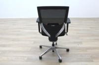 Black Fabric / Mesh & Polished Aluminium Office Task Chairs - Thumb 7