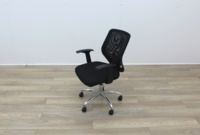 Black Operator Chairs With Mesh Back And Fabric Seat - Thumb 3